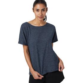 tentree Icefall T-Shirt Femme, dark ocean blue/elm white stripe